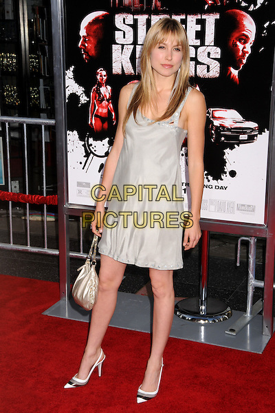 "SARAH CARTER.""Street Kings"" Los Angeles Premiere at Grauman's Chinese Theatre, Hollywood, California, USA..April 3rd, 2008.full length grey gray dress white shoes black bag purse silver gold .CAP/ADM/BP.©Byron Purvis/AdMedia/Capital Pictures."