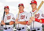 25 February 2011: Washington Nationals' first round position draft picks Chris Marrero, Ryan Zimmerman, and  Bryce Harper pose for a Photo Day image at Space Coast Stadium in Viera, Florida. Mandatory Credit: Ed Wolfstein Photo