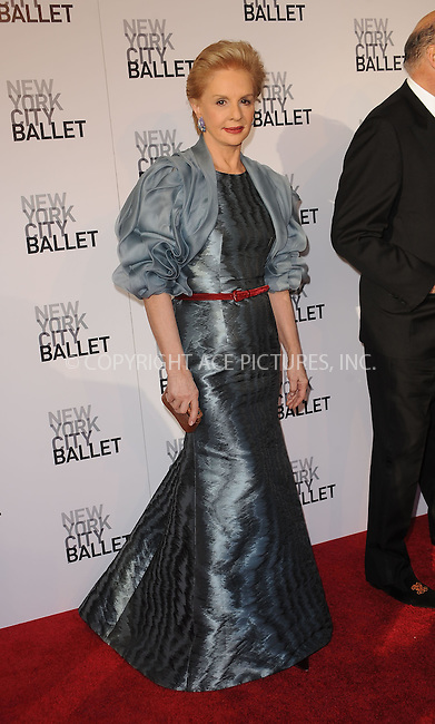 WWW.ACEPIXS.COM . . . . . ....April 29 2010, New York City....Fashion designer Carolina Herrera arriving at the 2010 New York City Ballet Spring Gala at the David H. Koch Theater, Lincoln Center on April 29, 2010 in New York City. ....Please byline: KRISTIN CALLAHAN - ACEPIXS.COM.. . . . . . ..Ace Pictures, Inc:  ..(212) 243-8787 or (646) 679 0430..e-mail: picturedesk@acepixs.com..web: http://www.acepixs.com