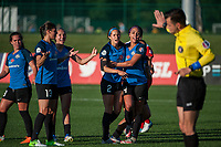 Kansas City, MO - Saturday May 27, 2017: Shea Groom, Sydney Leroux, Lo'eau Labonta, Brittany Taylor, Alexa Newfield, Brittany Ratcliffe during a regular season National Women's Soccer League (NWSL) match between FC Kansas City and the Washington Spirit at Children's Mercy Victory Field.