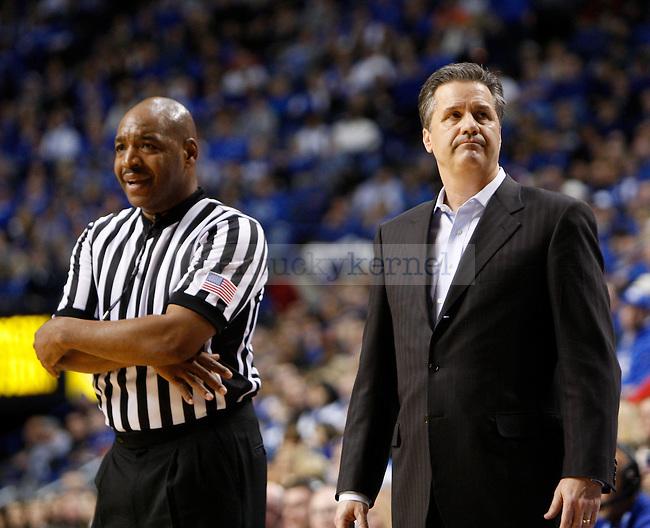 UK head coach John Calipari and the referees were at odds during the entirety of the game. Calipari was even issued bench warning during the first half of the men's basketball game vs. LSU at Rupp Arena, in Lexington, Ky., on Saturday, January 26, 2013. Photo by Genevieve Adams  | Staff.