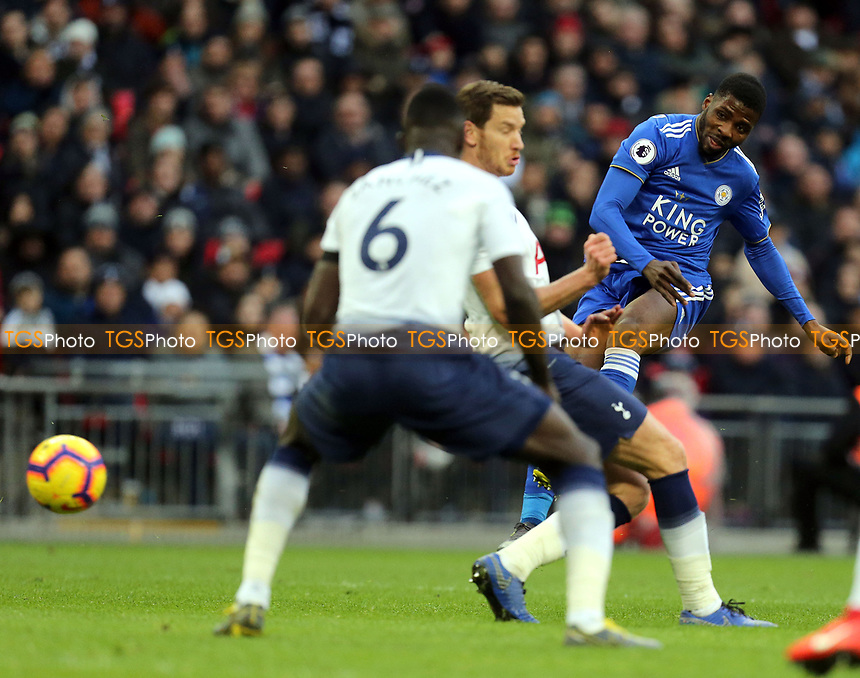 Kelechi Iheanacho of Leicester City fires in a shot during Tottenham Hotspur vs Leicester City, Premier League Football at Wembley Stadium on 10th February 2019