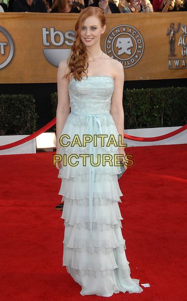 DEBORAH ANN WOLL.Arrivals at the 16th Annual Screen Actors Guild Awards Held At The Shrine Auditorium in Los Angeles, California, USA..January 23rd, 2010 .SAG SAGs full length maxi layers layered pale white strapless blue .CAP/RKE/DVS.©DVS/RockinExposures/Capital Pictures