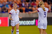 HOUSTON, TX - JANUARY 28: Abby Dahlkemper #7 of the United States celebrates with teammate Lindsey Horan #9 during a game between Haiti and USWNT at BBVA Stadium on January 28, 2020 in Houston, Texas.