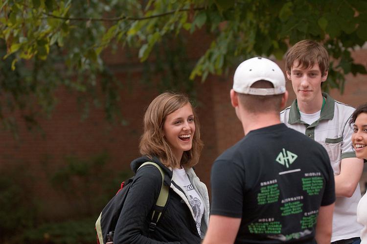 17805Campus Shots: Students... Matt Irwin, Jessica Tyroler(white shirt),Jessica Goodyear(left)