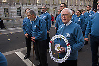 Veterans for Peace hold their annual parade to the Cenotaph in Whitehall to remember their fallen comrades and all the victims of war. They reject war as a solutio to any political problem. 12-11-17