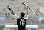 Champions Trophy Hockey mannen Nederland-Spanje 4-2. Karel Klaver juicht nadat hij de stand op 3-1 heeft gebracht. Klaver nam drie treffers voor zijn rekening.