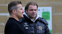 MK Dons Manager, Robbie Neilson, chats with Forest Green Rovers Manager, Mark Cooper pre-match during Forest Green Rovers vs MK Dons, Caraboa Cup Football at The New Lawn on 8th August 2017