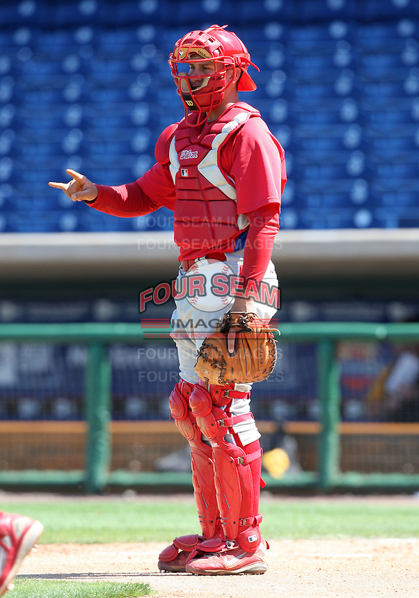 March 30, 2010:  Catcher Kyle Lafrenz of the Philadelphia Phillies organization during Spring Training at Bright House Field in Clearwater, FL.  Photo By Mike Janes/Four Seam Images