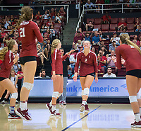 STANFORD, CA - September 9, 2018: Kathryn Plummer, Jenna Gray, Sidney Wilson, Kate Formico, Meghan McClure at Maples Pavilion. The Stanford Cardinal defeated #1 ranked Minnesota 3-1 in the Big Ten / PAC-12 Challenge.