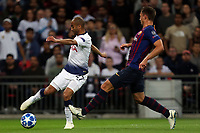 Lucas of Tottenham Hotspur and Clement Lenglet of FC Barcelona during Tottenham Hotspur vs FC Barcelona, UEFA Champions League Football at Wembley Stadium on 3rd October 2018