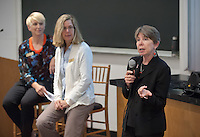 """Marsha Schnirring, Chief of Administrative Affairs, hosts a discussion on """"How Oxy Works"""" featuring: Eileen Spain, Associate Dean, Academic Affairs; Tamara Himmelstein, Assistant Dean of Students; Michelle McMichael, Director of Campaign Communications; Elizabeth Kennedy, Interim Vice President, Institutional Advancement and Maricela Martinez, Associate Dean of Admission. The panel shared their perspectives on the interesting and dynamic work happening at Oxy. Alumni Reunion Weekend, June 11, 2016 in Mosher 1.<br /> (Photo by Marc Campos, Occidental College Photographer)"""