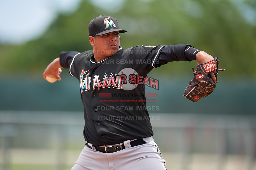 GCL Marlins relief pitcher Javier Garcia (39) warms up in the bullpen during the second game of a doubleheader against the GCL Nationals on July 23, 2017 at Roger Dean Stadium Complex in Jupiter, Florida.  GCL Nationals defeated the GCL Marlins 1-0.  (Mike Janes/Four Seam Images)