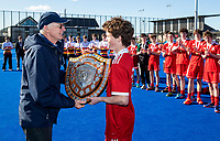 St Bede's College celebrate with the India Shield at the Rankin Cup and India Shield 2019 Secondary School Hockey Tournament, Nga Puna Wai Sports Hub, Christchurch, Saturday 07 September 2019. Photo: Martin Hunter / BWMedia