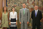 Spanish Royals King Felipe VI of Spain and Queen Letizia of Spain during a Royal meeting with Spanish Culture Executive at Zarzuela Palace in Madrid, Spain. September 02, 2015. (ALTERPHOTOS/Victor Blanco)