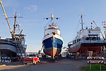 Port Townsend, Boat Haven Marina, fishing vessels hauled out in boatyard, Jefferson County, Olympic Peninsula, Puget Sound, Washington State, Pacific Northwest, USA,
