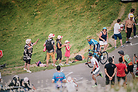 Nairo Quintana (COL/Movistar) up the last climb of the 2018 Tour: the Col d'Aubisque (HC/1709m/16.6km@4.9%)<br /> <br /> Stage 19: Lourdes &gt; Laruns (200km)<br /> <br /> 105th Tour de France 2018<br /> &copy;kramon