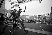 Fabian Cancellara (CHE/TrekFactoryRacing) greeting the crowd on the start podium in Bruges. Belgians adore him.<br /> <br /> Ronde van Vlaanderen 2014
