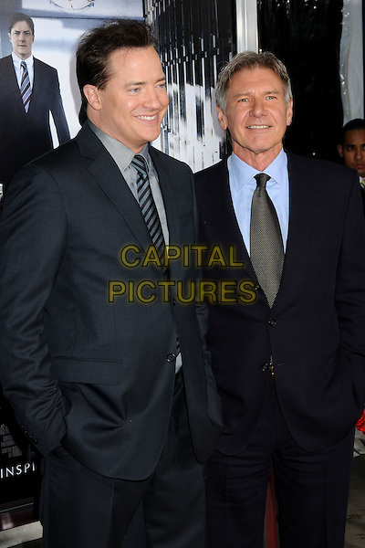 "BRENDAN FRASER & HARRISON FORD .""Extraordinary Measures"" Los Angeles Premiere held at Grauman's Chinese Theatre, Hollywood, California, USA..January 19th, 2010.half length suit jacket black blue hands in pockets .CAP/ADM/BP.©Byron Purvis/AdMedia/Capital Pictures."