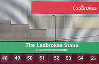 Burnley's Ladbrokes stand has a Greek translation to help the visiting Olympiakos fans<br /> <br /> Photographer Alex Dodd/CameraSport<br /> <br /> UEFA Europa League - UEFA Europa League Qualifying Second Leg 2 - Burnley v Olympiakos - Thursday August 30th 2018 - Turf Moor - Burnley<br />  <br /> World Copyright © 2018 CameraSport. All rights reserved. 43 Linden Ave. Countesthorpe. Leicester. England. LE8 5PG - Tel: +44 (0) 116 277 4147 - admin@camerasport.com - www.camerasport.com