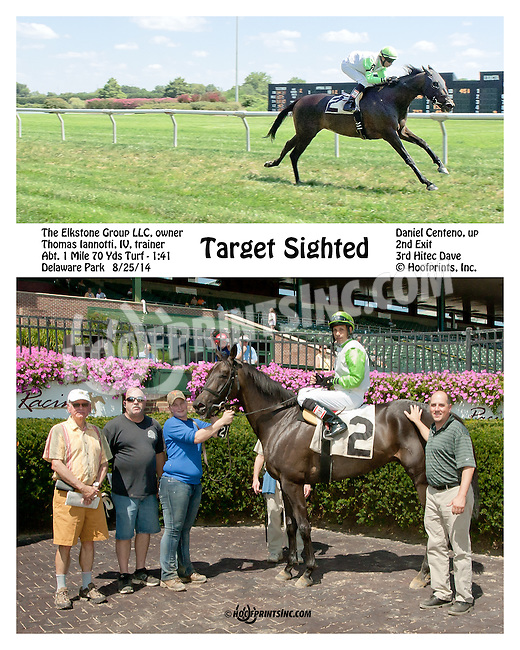 Target Sighted winning at Delaware Park on 8/25/14