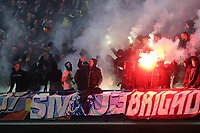 Malmo fans light up the away end at the start of the second half during Chelsea vs Malmo FF, UEFA Europa League Football at Stamford Bridge on 21st February 2019