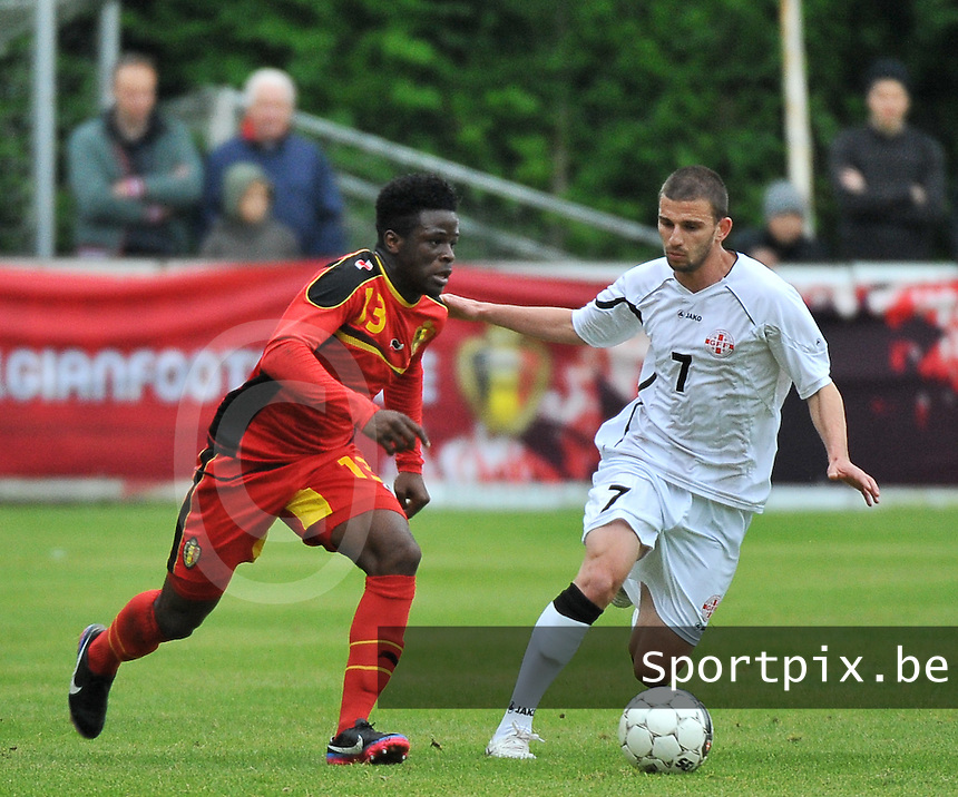 Georgia U19 - Belgium U19 : Jordan Kevin Atheba (13) and Guram Samushia (7)<br /> foto DAVID CATRY / Nikonpro.be
