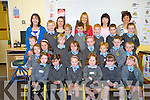 Junior infants from Cullina National School, Beaufort, pictured with Alison Tuohy, Siobhan Hayes, Una Costello, Sandra Walsh and Siobhan O'Shea as they settled into their first week in the school on Friday.........