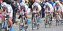 Team Androni Giocattoli Venezula (ITA) race past Queen's University Belfast during the first stage of the 2014 Giro d'Italia, a 21km Team Time Trial stage, May 9, 2014 in Belfast, Northern Ireland.