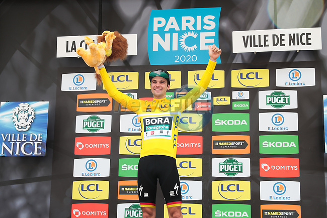 Yellow Jersey Maximilian Schachmann (GER) Bora-Hansgrohe  wins the 78th edition of Paris-Nice 2020, running 166.5km from Nice to Valdeblore La Colmiane, France. 14th March 2020.<br /> Picture: ASO/Fabien Boukla | Cyclefile<br /> All photos usage must carry mandatory copyright credit (© Cyclefile | ASO/Fabien Boukla)