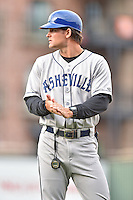 Asheville Tourists manager Warren Schaeffer (13) during a game against the  Greenville Drive at Fluor Field on April 10, 2016 in Greenville South Carolina. The Drive defeated the Tourists 7-4. (Tony Farlow/Four Seam Images)