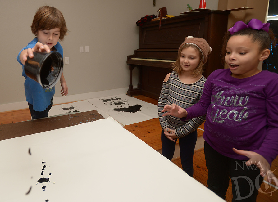 NWA Democrat-Gazette/ANDY SHUPE<br /> Wednesday, Jan. 3, 2018, during BLACKOUT, a youth art camp at Artist's Laboratory Theatre in Fayetteville. The eight-day pay-what-you-can camp is exploring the affect of light and dark through art, performance and science experiments and runs through Friday.