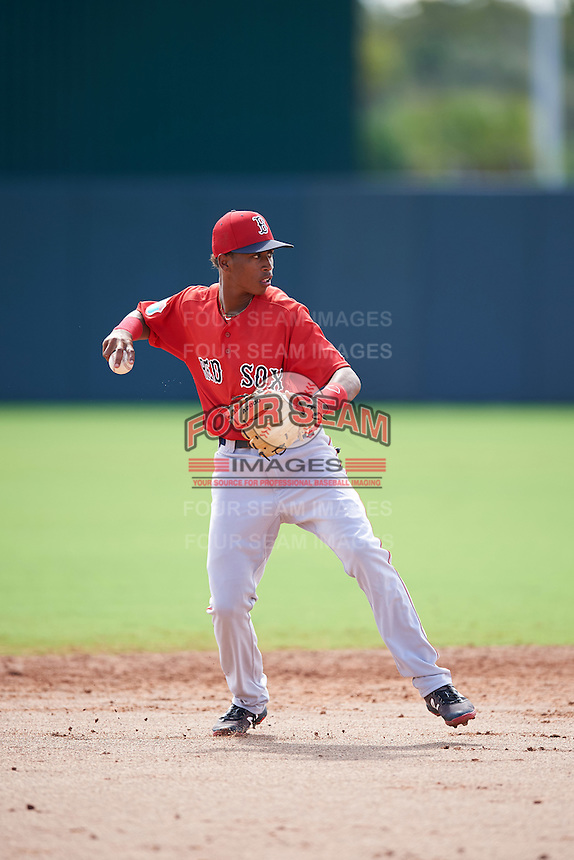 Boston Red Sox Yeison Coca (11) during an Instructional League game against the Minnesota Twins on September 24, 2016 at CenturyLink Sports Complex in Fort Myers, Florida.  (Mike Janes/Four Seam Images)