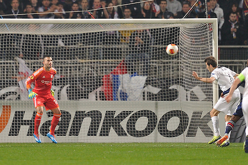 13.03.2014. Lyon, France. Europa League football. Lyon versus Viktoria Plzen.    Anthony Lopes (lyon) beaten by Tomas Harava (viktoria plzen) with this header for a goal