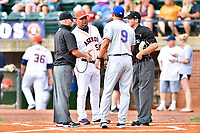 First base umpire Lance Seilhamer,  Greeneville Astros manager Danny Ortega (53), Kingsport Mets manager Luis Rivera (9) and home plate umpire Brandon Blome before a game between the Kingsport Mets and the Greeneville Astros at Pioneer Park on July 1, 2017 in Greeneville, Tennessee. The Astros defeated the Mets 6-2. (Tony Farlow/Four Seam Images)