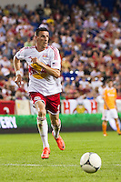 Sebastien Le Toux (9) of the New York Red Bulls. The New York Red Bulls defeated the Houston Dynamo 2-0 during a Major League Soccer (MLS) match at Red Bull Arena in Harrison, NJ, on August 10, 2012.