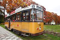 Oude tram in het Openluchtmuseum in Arnhem. ( Toestemming gekregen om de foto voor redactionele  doeleinden te gebruiken)
