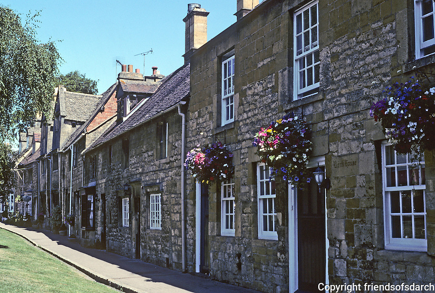 "Chipping Campden: Gloucestershire, High Street #1.  High Street, ""the most beautiful street in England."" Photo '05."
