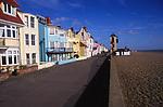 A082W1 Buildings on the promenade Aldeburgh Suffolk England sea wall shingle beach
