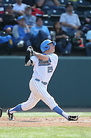 Ty Moore (29) of the UCLA Bruins bats during a game against the Arizona Wildcats at Jackie Robinson Stadium on May 16, 2015 in Los Angeles, California. UCLA defeated Arizona, 6-0. (Larry Goren/Four Seam Images)