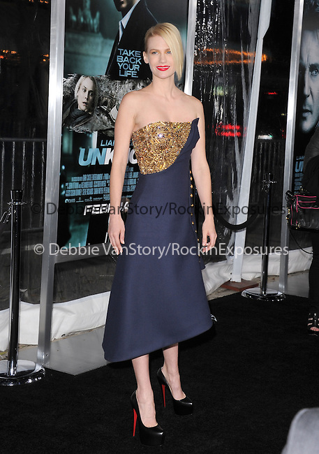 January Jones attends The Warner Bros. Pictures Premiere of Unknown held at The Regency Village Theatre in Westwood, California on February 16,2011                                                                               © 2010 DVS / Hollywood Press Agency