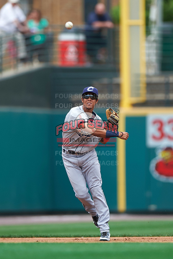 Columbus Clippers shortstop Yhoxian Medina (15) throws to first during a game against the Rochester Red Wings on June 16, 2016 at Frontier Field in Rochester, New York.  Rochester defeated Columbus 6-2.  (Mike Janes/Four Seam Images)