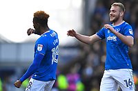 Jamal Lowe of Portsmouth left celebrates scoring the first goal with Jack Whatmough of Portsmouth during Portsmouth vs Gillingham, Sky Bet EFL League 1 Football at Fratton Park on 10th March 2018