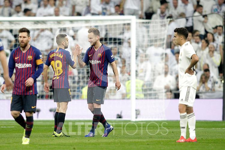 FC Barcelona's Ivan Rakitic and Jordi Alba during La Liga match. March 02,2019. (ALTERPHOTOS/Alconada)