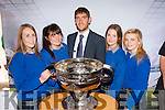 Tara Piggot, Niamh Farrell, Emma Sheahan, and Amy Burke were delighted to meet Kerry star Killian Young at the Killorglin business expo in the Killorglin CYMS on Friday