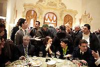 Vicenza:  Umberto Bossi, Renzo Bossi e Roberto Cota nella villa palladiana La Favorita per la presentazione del parlamento padano.