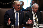 United States President Donald J. Trump joined by Acting US Secretary of Defense Richard V. Spencer, speaks during a Cabinet Meeting in the Cabinet Room of the White House, on July 16, 2019 in Washington, DC.<br /> Credit: Oliver Contreras / Pool via CNP