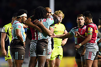 Joe Marchant of Harlequins embraces team-mate Marland Yarde at the final whistle. Aviva Premiership match, between Harlequins and Sale Sharks on October 6, 2017 at the Twickenham Stoop in London, England. Photo by: Patrick Khachfe / JMP