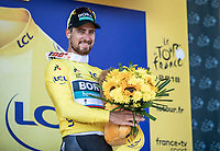World Champion Peter Sagan (SVK/Bora Hansgrohe) on podium to receive the Yellow Jersey as new GC leader after winning stage 2.<br /> <br /> <br /> Stage 2: Mouilleron-Saint-Germain > La Roche-sur-Yon (183km)<br /> <br /> Le Grand Départ 2018<br /> 105th Tour de France 2018<br /> ©kramon