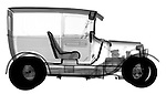 X-ray image of an antique delivery truck (black on white) by Jim Wehtje, specialist in x-ray art and design images.